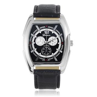 Geneva Platinum Men's Barrel Face Leather Strap Watch