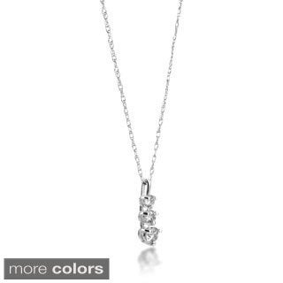 SummerRose 14k Gold 1/4 ct TDW Graduated Diamond Line Pendant