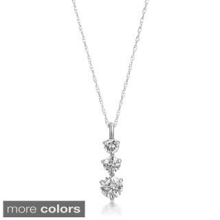 SummerRose 14K Gold 3/4ct TDW Graduated Diamond Line Pendant Necklace