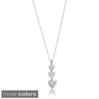 SummerRose 14k Gold 1 ct TDW Graduated Diamond Line Pendant