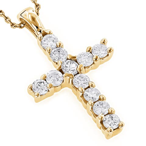 Luxurman 14k Gold 1/3ct TDW Round Diamond Cross Necklace