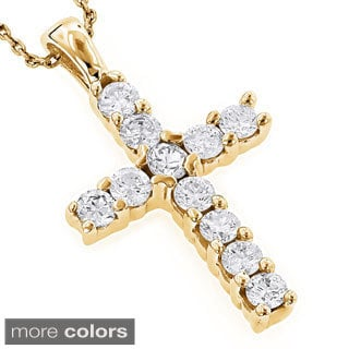 Luxurman 14k Gold 1/3ct TDW Round Diamond Cross Necklace (H-I, SI1-SI2)