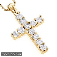 Luxurman 14k Gold 1/3ct TDW Round Diamond Cross Necklace