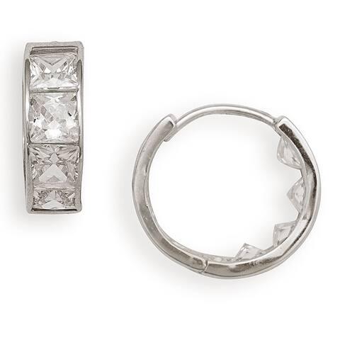 14k Gold Princess-cut CZ Hinged Hoop Earrings