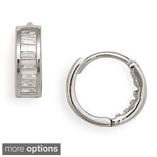 14k Gold Baguette CZ Hinged Hoop Clip-in Earrings
