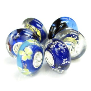 Queenberry Sterling Silver Blue Bubble Murano Lampwork Glass 6-piece European Bead Charm