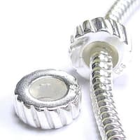 Queenberry Sterling Silver Stopper with Rubber Focal Twisted Round European Bead Charm
