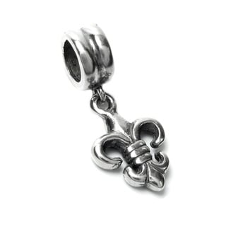 Queenberry Sterling Silver Fleur-de-lis Dangle European Bead Charm