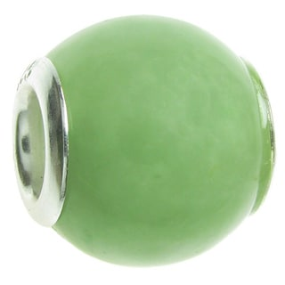 Queenberry Sterling Silver Genuine Aventurine Round European Bead Charm