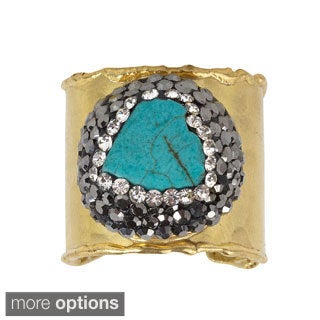NEXTE Jewelry Turquoise or Fresh Water Pearl with Crystal Accents Ring