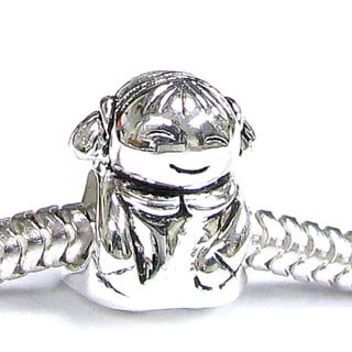 Queenberry Sterling Silver Little Girl European Bead Charm