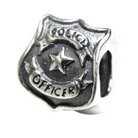 Queenberry Sterling Silver Police Officer Badge European Bead Charm