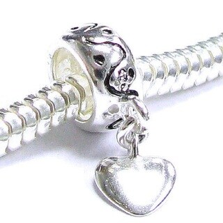 Queenberry Sterling Silver Heart Dangle European Bead Charm