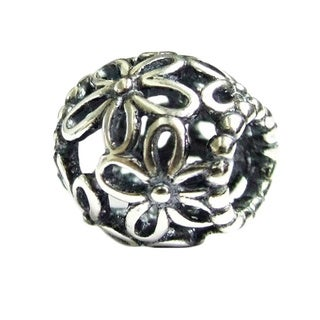Queenberry Sterling Silver Round Filigree Flower European Bead Charm