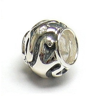 Queenberry Sterling Silver Swirl Round Focal European Bead Charm