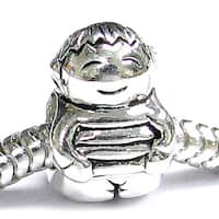 Queenberry Sterling Silver Little Boy European Bead Charm