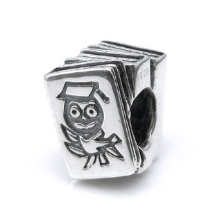 Queenberry Sterling Silver Graduation Wise Owl Scholar European Bead Charm