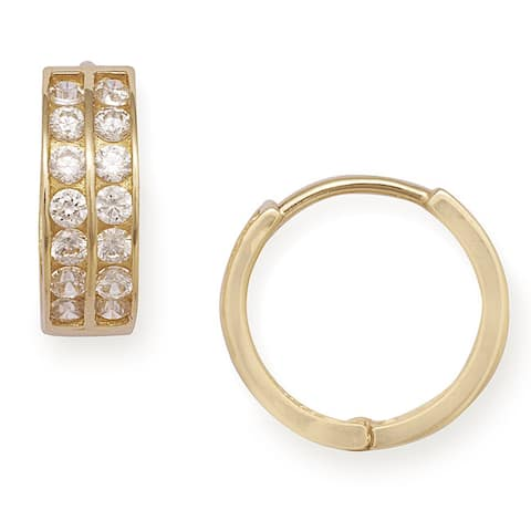 14k Gold Round CZ Double Row Hinged Hoop Earrings - White