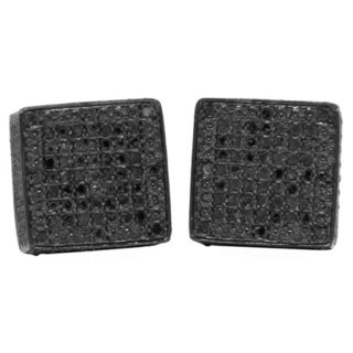 Sterling Silver 5/8ct TDW Black Diamond Pave Square Earrings