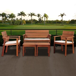 Amazonia Albany 5-Piece Eucalyptus Patio Seating Set with Beige and Off-White Striped Cushions