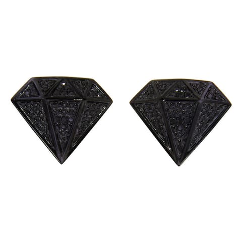 Sterling Silver 1/3ct TDW Black Diamond Stud Diamond-shaped Earrings