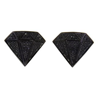 Sterling Silver 1/3ct TDW Black Diamond Stud Diamond-shaped Earrings