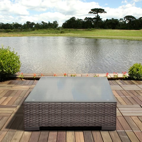 Atlantic Grey Synthetic Wicker Square Coffee Table with Glass Top