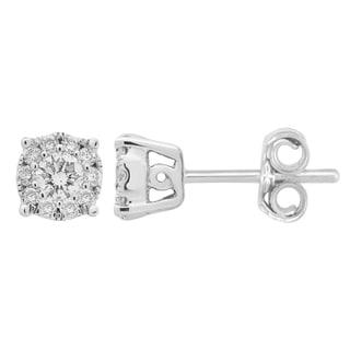 14k White Gold 1/4ct TDW Diamond Halo Earrings (I-J, SI1-SI2)