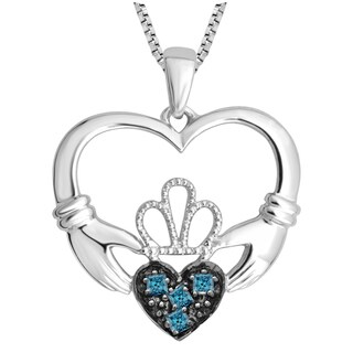 Divina Sterling Silver 13/100 Blue Diamond Claddagh heart Pendant