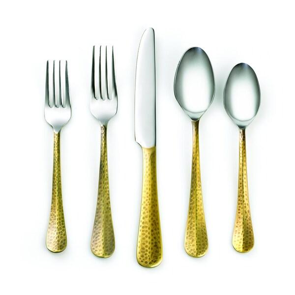 Cambridge Silversmiths Indira Jessamine Brass 20-piece Flatware Set