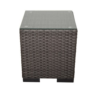 Atlantic Modena Grey Synthetic Wicker Square Side Table with Tempered Glass Top