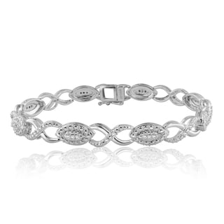 Divina SIlvertone Brass 1/2 TDW Diamond Fashion Bracelet