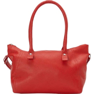 SHARO Red Genuine Argentine Leather Handbag with Attached Shoulder Strap