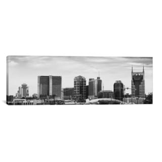 iCanvas Memphis Panoramic Skyline Cityscape (Black & White) Canvas Print Wall Art