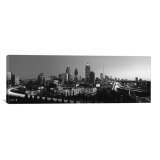 iCanvas Atlanta Panoramic Skyline Cityscape (Black & White) Canvas Print Wall Art