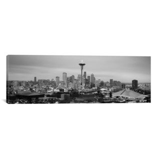 iCanvas Seattle Panoramic Skyline Cityscape (Black & White - Evening) Canvas Print Wall Art