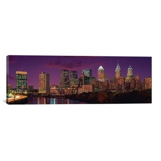 iCanvas Philadelphia Panoramic Skyline Cityscape (Sunset) Canvas Print Wall Art