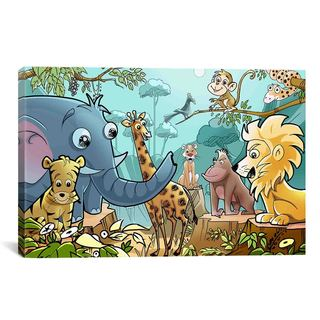 iCanvas Jungle Cartoon Animals Children Art Canvas Print Wall Art