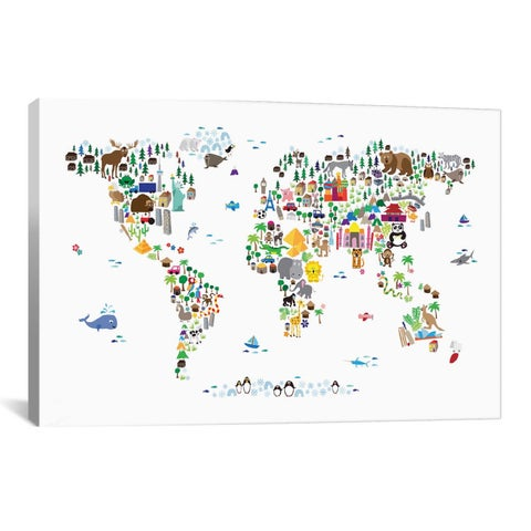 iCanvas Michael Thompsett Animal Map of The World Canvas Print Wall Art