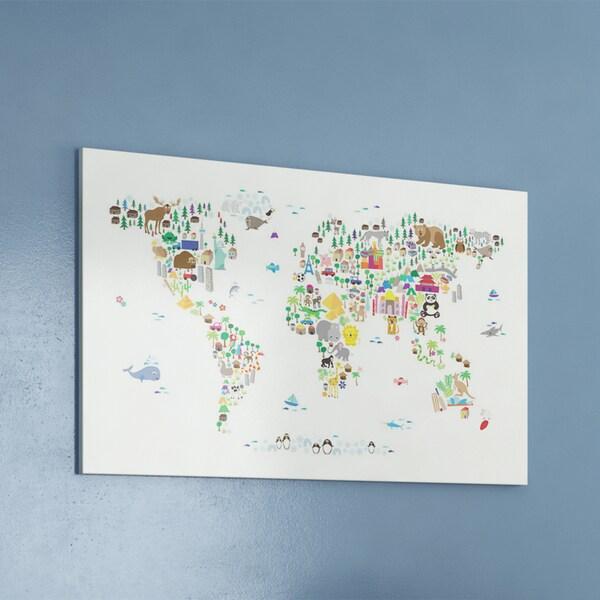 iCanvas Michael Thompsett Animal Map of The World Canvas Print