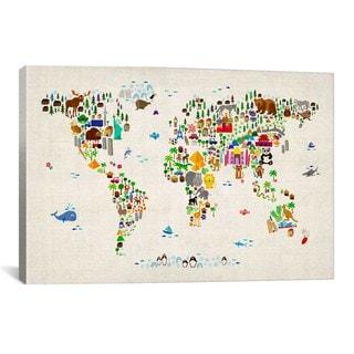 iCanvas Michael Thompsett Animal Map of The World II Canvas Print Wall Art