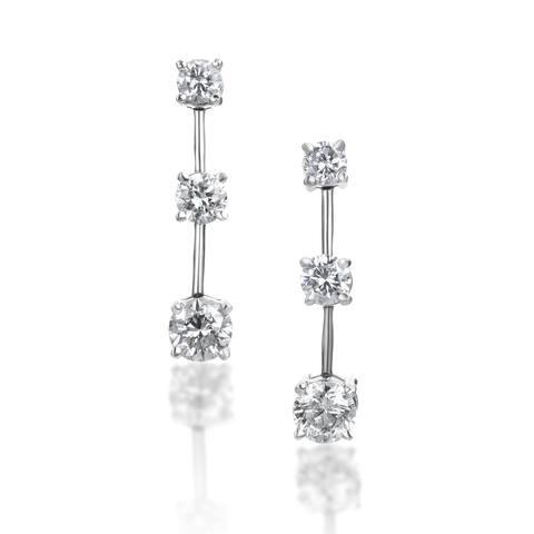 SummerRose 14k Gold 2 ct TDW Graduated Diamond Dangle Earrings - White