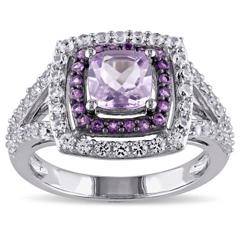 Miadora Sterling Silver Rose de France African Amethyst Created White Sapphire Cocktail Ring