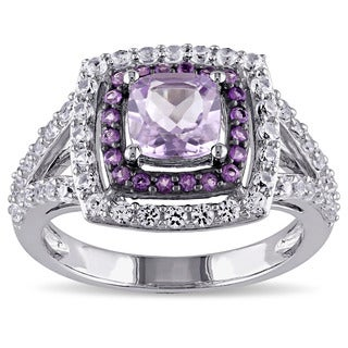 Miadora Sterling Silver Rose de France African Amethyst Created White Sapphire Cocktail Ring (5 options available)