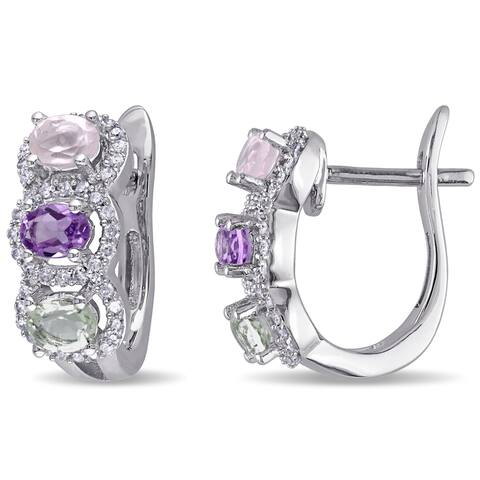Miadora Sterling Silver Multi-gemstone 1/4ct TDW Diamond Earrings (G-H, I2-I3)