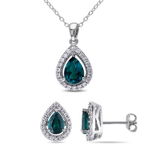 Miadora Silver Created Emerald and Sapphire Set of Necklace and Earrings