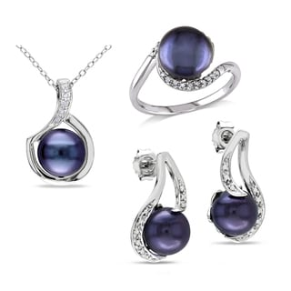 Miadora 9-9.5mm Black Freshwater Cultured Pearl 1/5ct TDW Diamond Necklace, Ring and Earring Set in Sterling Silver (G-H, I2-I3)