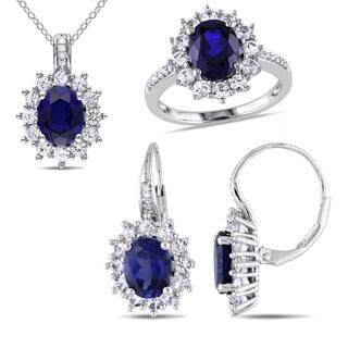 Miadora Sterling Silver Created Blue and White Sapphire 1/10ct TDW Diamond Birthstone Jewelry Set