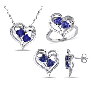 Miadora Sterling Silver Created Sapphire 1/10ct TDW Diamond Heart Jewelry Set (G-H, I2-I3)