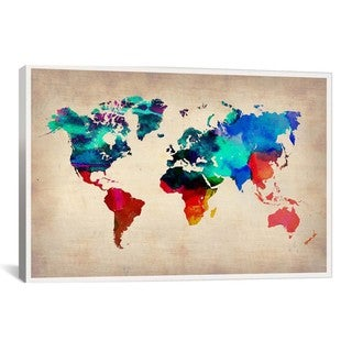 iCanvas Naxart World Watercolor Map I from Naxart collection Canvas Print Wall Art